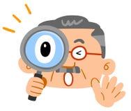 W średnim wieku mężczyzna zaskakiwał podglądanie przez powiększać - szkło Ogromna warstwa brod szkła ilustracji
