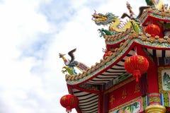 W świątyni chiński smok Obraz Royalty Free