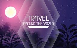w świecie podróży Tropikalny tło z krajobrazem, księżyc i drzewkami palmowymi, Obraz Royalty Free
