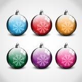 W 6 kolorach bożenarodzeniowi ornamenty Zdjęcie Royalty Free