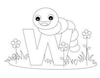 字母表动物着色页w 免版税库存图片