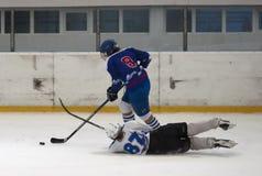 W action-4 lodowi gracz w hokeja Fotografia Stock