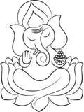 Władyka Ganesha na lotosowej kreskowej sztuce ilustracja wektor