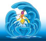 Władyka Krishna i Kaliya naag ilustracja wektor
