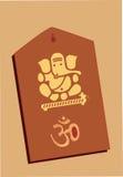 Władyka w drewnianym Ganesha i Om Fotografia Stock