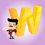 W Alphabet  icon great for any use. Vector EPS10. Royalty Free Stock Image