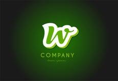 W alphabet letter logo green 3d company vector icon design Stock Photos