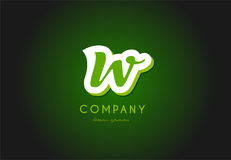 W alphabet letter logo green 3d company vector icon design. W alphabet letter hand written hand writing green white logo 3d vector creative company icon design royalty free illustration