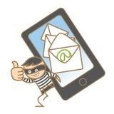 Włamywacz dostaje mobilnych dane Zdjęcia Stock