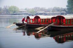 W Azja, chińczyk, Pekin, shi cha hai, pływa statkiem Fotografia Royalty Free
