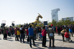 W Azja, Chiny, Pekin, Olimpijski park, Francja maszynerii smoka horse† parady wielcy występy, Obrazy Royalty Free