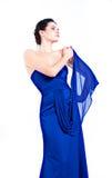 W błękit sukni piękna dziewczyna Zdjęcie Royalty Free