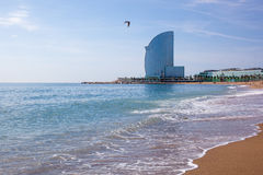 W Barcelona Hotel, in Barceloneta beach. In Spain Royalty Free Stock Photography