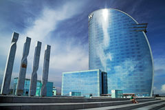 W Barcelona hotel. Spain. W Barcelona hotel. The hotel W Barcelona, also known as the Vela sail hotel,  designed by Richardo Bofill, is located on the new Royalty Free Stock Photography