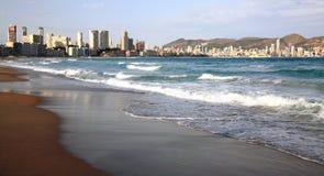 W Benidorm piękna plaża Hiszpania Obrazy Royalty Free