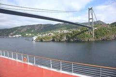 W Bergen zawieszenie most zdjęcia royalty free