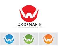 W beschriftet Geschäftslogo und Symbolschablone Lizenzfreie Stockfotos