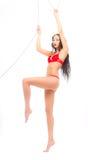 W bielizny czerwonym obwieszeniu obwieszenie piękno Fotografia Stock