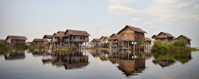 W Birma rybak wioska Obrazy Royalty Free