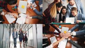 4 w 1: biznesowy pojęcie produktywnego działania drużyna zbiory wideo