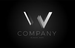 W black white silver letter logo design icon alphabet 3d Royalty Free Stock Image