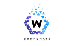 W Blue Hexagon Letter Logo with Triangles. W Blue Hexagon Letter Logo Design with Blue Mosaic Triangles Pattern stock illustration