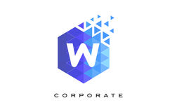 W Blue Hexagonal Letter Logo Design with Mosaic Pattern. W Blue Hexagonal Letter Logo Design with Mosaic Blue Pattern vector illustration