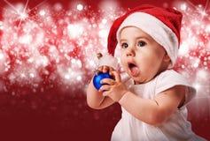 W bożych narodzeniach kapeluszowych ładny dziecko Obrazy Stock