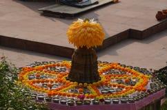 W Bodhgaya Mahabodhi Świątynia, Bihar, India zdjęcie stock