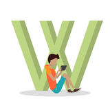W-Buchstabe und -junge, die auf Tablet spielen ABC vector Vektor Abbildung