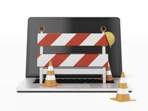 W budowie z laptopem Obraz Royalty Free