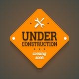 W budowie z przychodzić wkrótce etykietkę. Obraz Stock