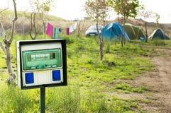 W campingu elektryczny panel Obraz Stock