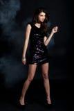W cekin sukni moda model Zdjęcie Stock