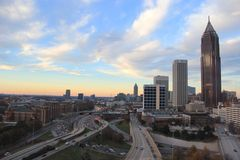 W centrum Atlanta autostrada Fotografia Royalty Free