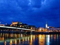 W centrum Bratislava nocą Obrazy Stock