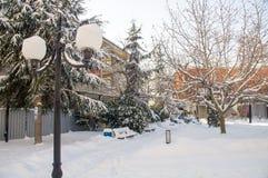 W centrum Bułgarski Pomorie, zima 2017 Fotografia Stock