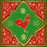 W centrum Chiński dywan z złocistymi wzorami, czerwień, yel Zdjęcia Stock