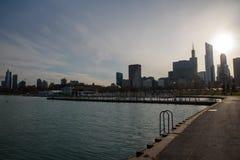 W centrum Chicagowski zmierzch sylwetki strzał od Grant parka Zdjęcia Royalty Free