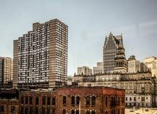 W centrum Detroit Michigan Panoramiczny pejzaż miejski zdjęcie stock