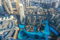 W centrum Dubaj linia horyzontu Gromadzki widok zdjęcie royalty free