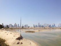 W centrum Dubaj od Rasa Al Khor przyrody sanktuarium Obraz Royalty Free