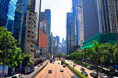 w centrum Hong kong ruch drogowy zdjęcie stock