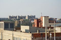W centrum linia horyzontu w Johannesburg, Południowa Afryka Zdjęcie Stock