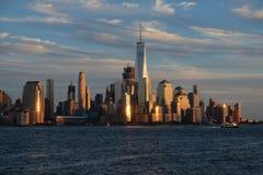 W centrum Manhattan linii horyzontu widok Zdjęcie Royalty Free