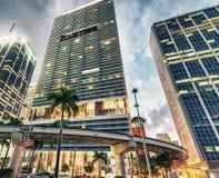 W centrum Miami przy zmierzchem, Floryda zdjęcie royalty free