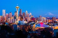 w centrum noc Seattle Zdjęcia Stock