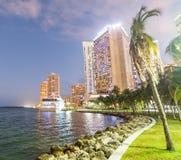 w centrum półmrok Miami Miasto budynki przeciw niebu fotografia stock