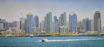 W centrum San Diego linia horyzontu, Panoramiczny Vista fotografia stock