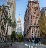 W centrum Sao Paulo z starym Banespa Altino Arantes i Martinelli budynkami - Sao Paulo, Brazylia Obrazy Royalty Free